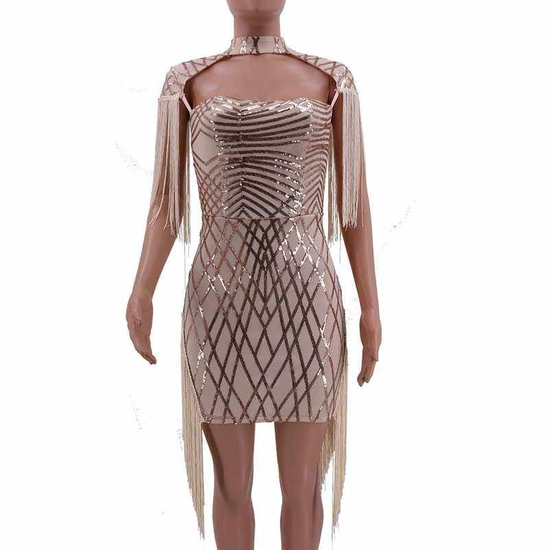 dfab155f61e ... fashion sexy red sequin dress women glitter patchwork fringe club short  bodycon ladies dresses vestidos party