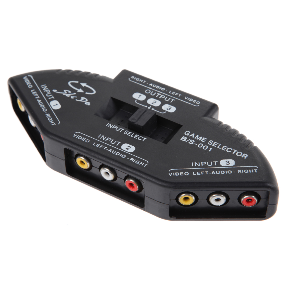 <font><b>3</b></font> Port AV Composite + Audio RCA Phono Selector Schalter Für Video Audio Schalt <font><b>3</b></font> in 1 AV Schalter <font><b>Splitter</b></font> image