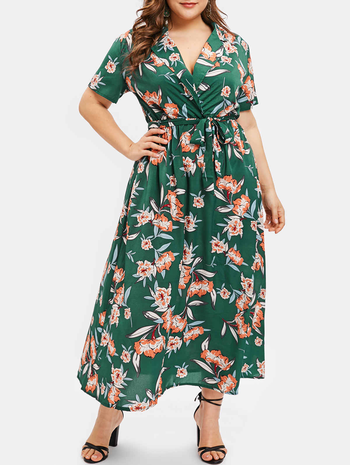 Wipalo Plus Size Floral Print Long Dress Women Spring Summer Beach Boho Dress  Casual A- 4021b4eb6