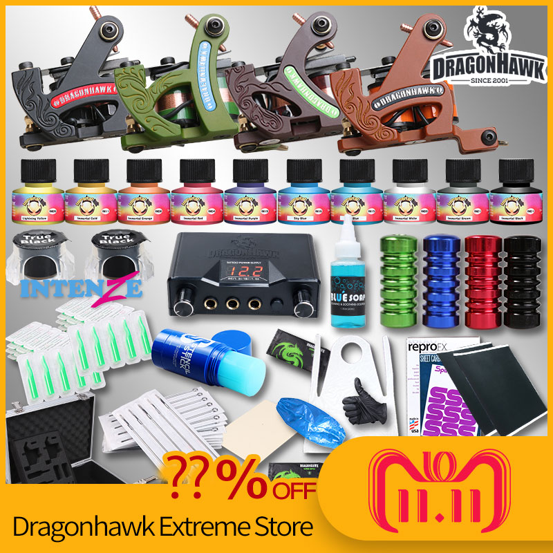 Professional Complete Tattoo Kit Tattoo Machine 4pcs Liner Shader Tattoo Gun Immortal Tattoo Ink Set Power Box Grip Tips Supply itatoo tattoo kit cheap beginner coil tattoo machine set kit tattoo ink rotary machine 2 gun liner supply professional tk1000005 page 4