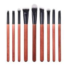 Pro Makeup Brushes Set Wooden Handle Make Up Brush 9pcs Travel Face Cheek Eyes Lips Beauty Tools Kit