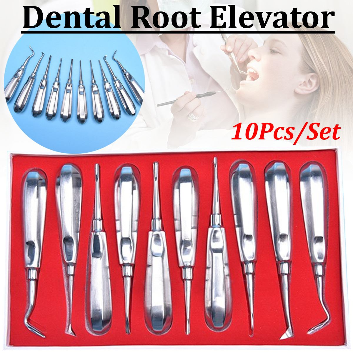 10Pcs Stainless Steel Dental Orthodontic Root Elevator Head Curved Pen Tool Dentistry Dentist Instrument Teeth Whitening Device