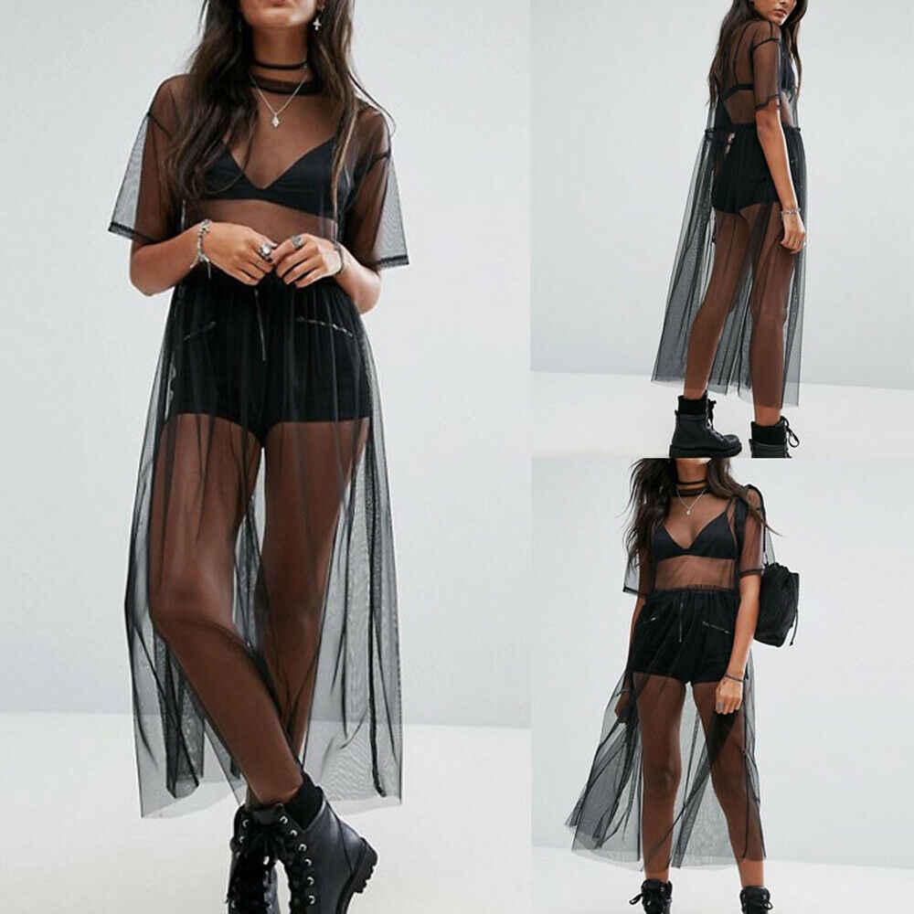 Платье Накидка Прозрачное Черное