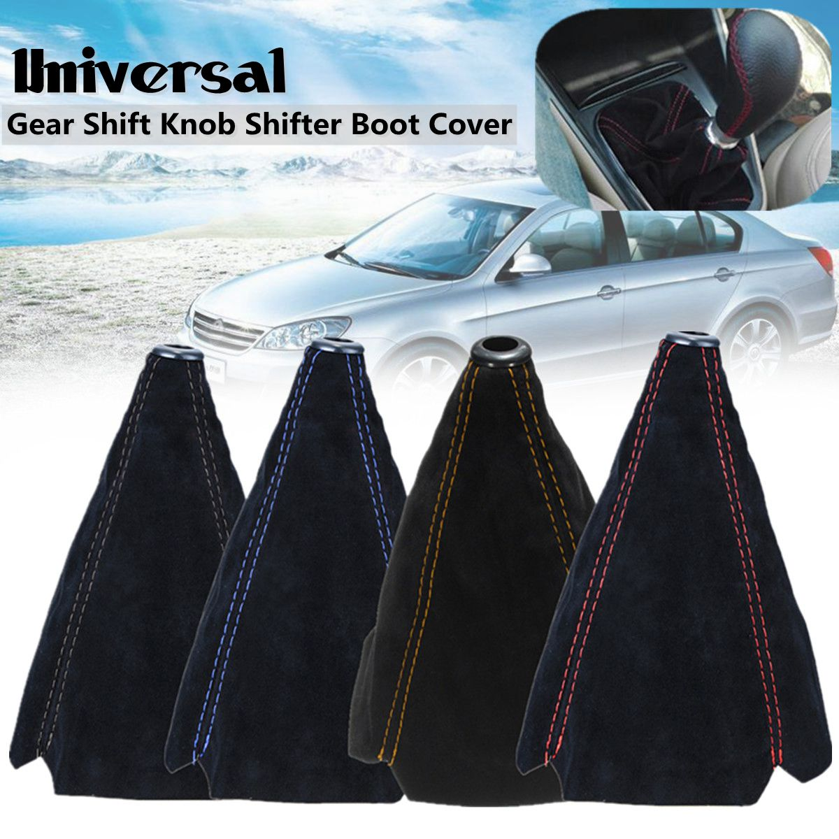 Universal Auto Manual Gear Shift Knob Boot Dust Cover,PU Leather Gear Shifter Boot Gear Gaiter Cover Black Bright Red Stitch