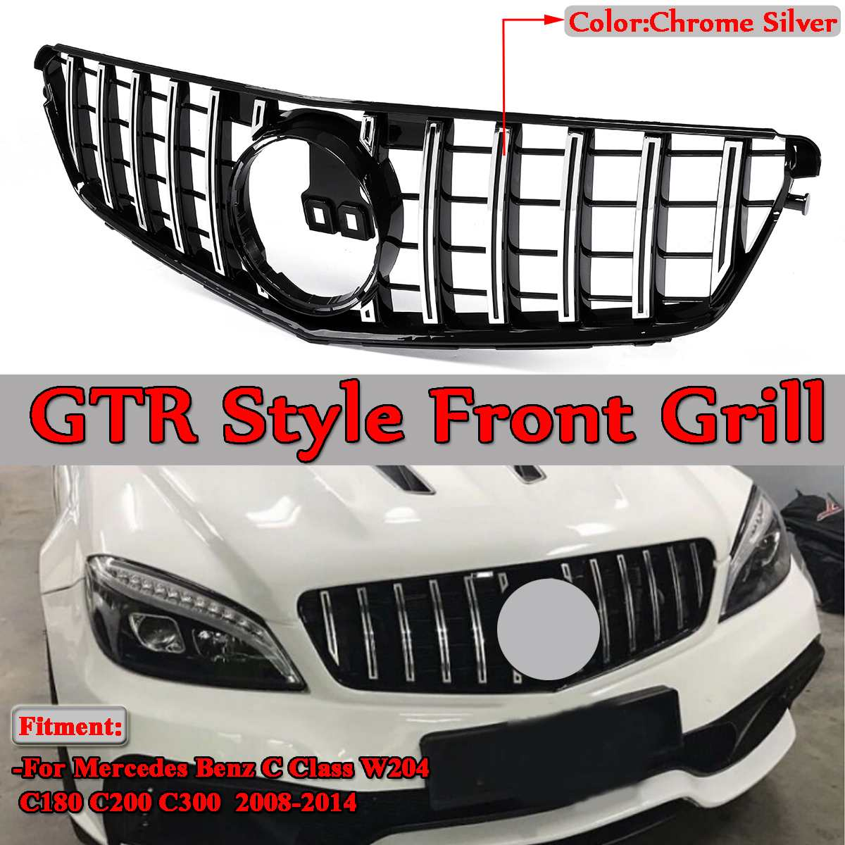 New Silver GTR Style Car Front Bumper Grill Grille Without Emblem For Mercedes For Benz C Class W204 C180 C200 C300 2008-2014 Mercedes-Benz A-класс