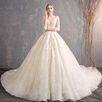 Белое Королевское свадебное платье с кружевным принтом, торжественное платье принцессы трапециевидной формы, свадебное платье 2019, Элегант