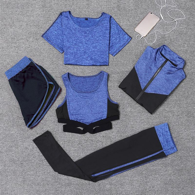 5 Piece Women Yoga Set Sport Suit Bra Legging Female Long Sleeved Long Running Pants Outdoor