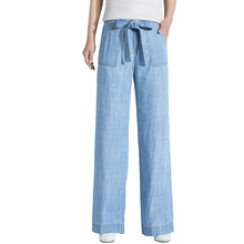 2019 summer new arrvial high waist show slim breathable tencel denim wide leg pants ice silk large size casual jeans women 19136