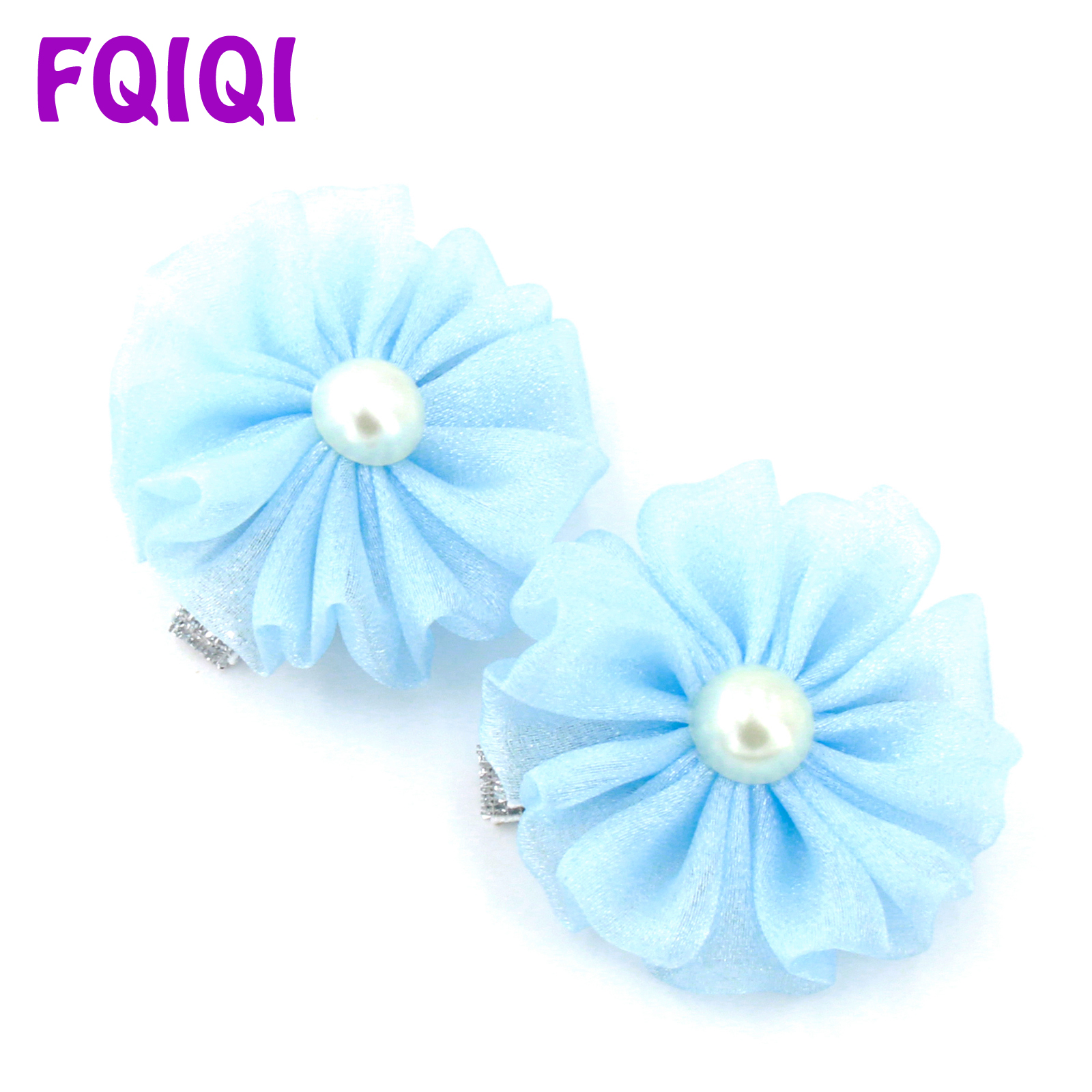 FQIQI 2/Pcs Pearl Shining Yarn Ribbon Handmade Hair Flower Clips For Girl Baby Bows Dance Party Kids Princess Hair Accessories