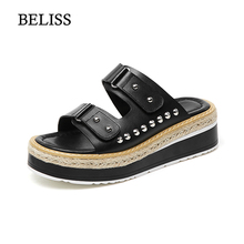 BELISS Summer Slippers Women Slides Sandals Genuine Leather Platform Wedges Slippers Open Toe Slides Womens Shoes Slip On S39 wedges slippers women 2018 slides sandals shoes women genuine leather closed toe handmade comfortable women flat shoes