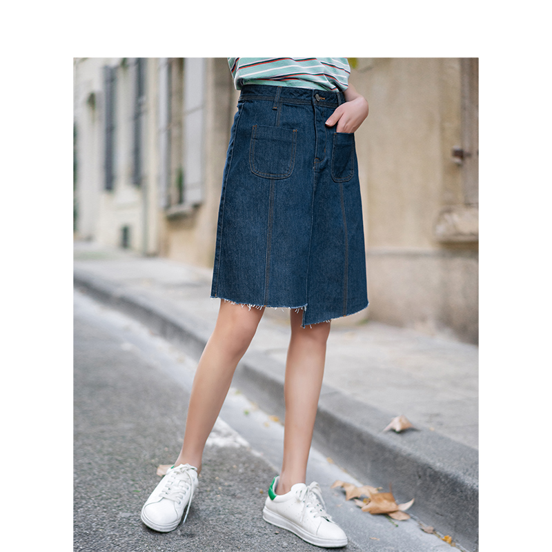 Image 2 - INMAN Summer New Arrival High Waist Slim Korean Fashion Irregular Women Short Jean SkirtSkirts   -
