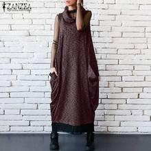 2019 Plus Size ZANZEA Summer Women Casual Solid Turtleneck Sleeveless  Vintage Party Loose Long Dress Vestido 988ebf86ea4a