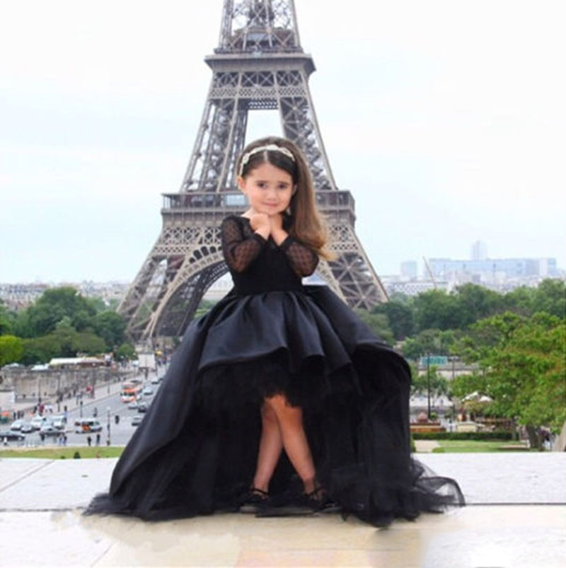 Elegant Simple Black Hi-Lo Tulle Ball Gown Long Sleeve Flower Girl Dresses TUTU Cute  Princess Kids Gown