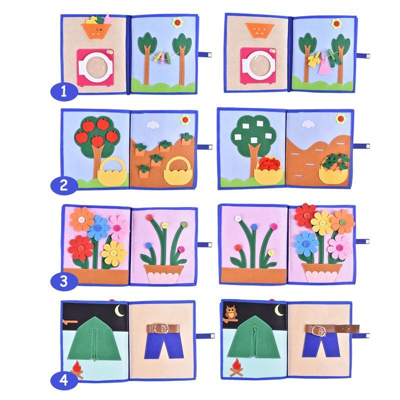 Livre en tissu doux pour enfants 3D livre à pansements Non tissé Puzzle d'intelligence manuel livre de jouets pour enfants - 2