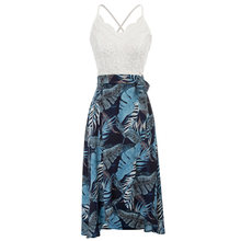 Sexy dresses Women holiday beach wear summer tropical dresses Spaghetti Straps V-Neck Lace & Chiffon Patchwork High-Low Dress(China)