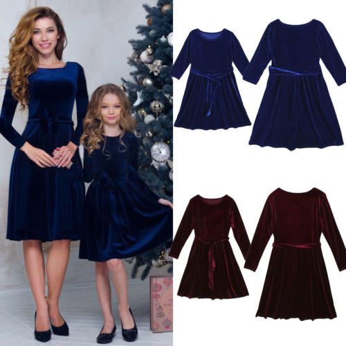 Family Matching Outfits Parent-child Mother Daughter Party Dress Women Toddler Kid Baby Girl Velvet Long Sleeve Clothes Sundress