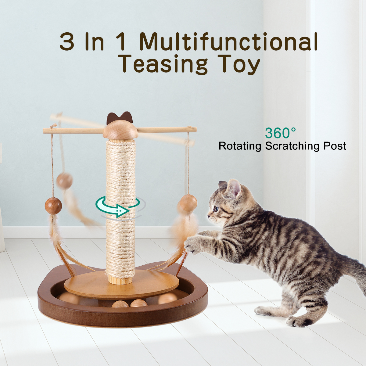 Multifunctional Cat Teasing Toy Durable 360° Rotating Rod With Feather Wooden Balls Scratching Sisal Post Cat Toys Kitten Table