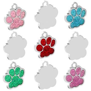 Venta al por mayor 20 piezas pata en blanco decoración etiqueta de Color Pet Id etiqueta