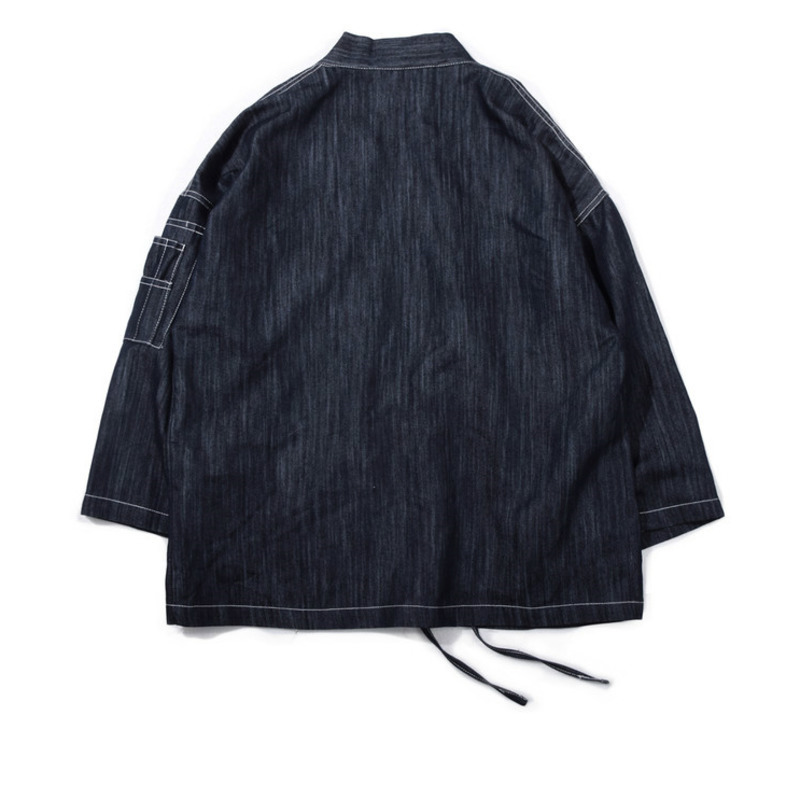 #4204 Japanese Men Kimono Jacket Streetwear Fashion Cardigan Denim Windbreaker Jackets Men Harajuku With Embroidery Plus Size 3