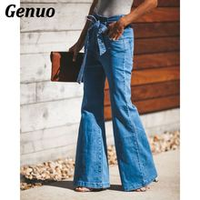 Genuo Women Jeans Trousers Casual Loose Bow Bandage Hole High Waisted Denim Mujer Autumn Stretch Flare Wide Leg Pants