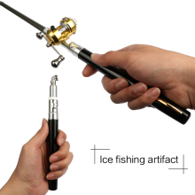 Outdoor Telescopic Mini Portable Pocket Fishing Pen Shape Pole Aluminum Alloy Fishing Rod Pole + Reel Wheel 1PC Adjustable D35 цена 2017