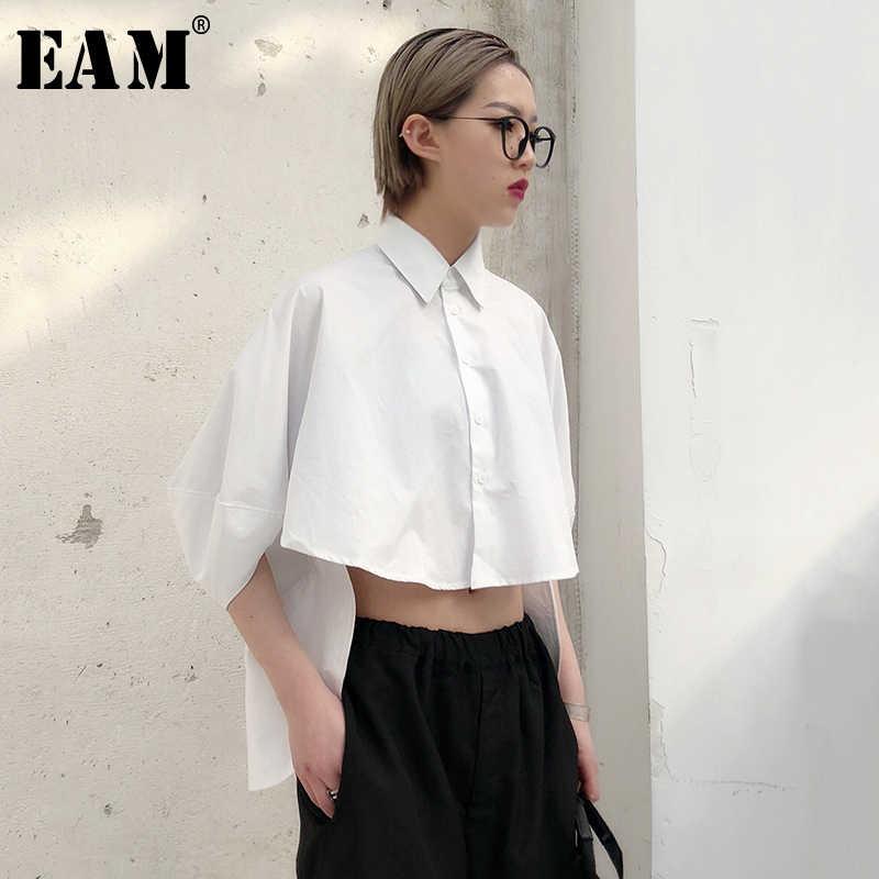 [EAM] Новинка 2019, осенне-зимняя черная Свободная рубашка с отворотом и длинным рукавом большого размера, короткая необычная модная женская блузка JO468