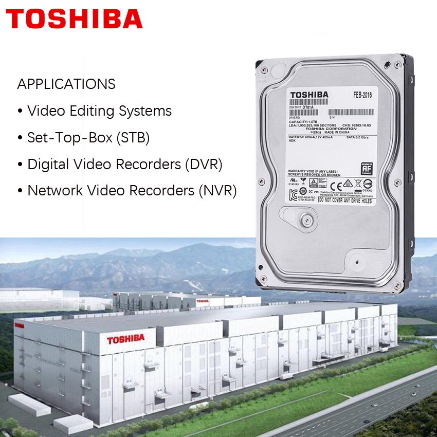 "TOSHIBA 1TB Video Surveillance Hard Drive Disk DVR NVR CCTV Monitor HDD HD Internal SATA III 6Gb/s 5700RPM 32MB 3.5"" harddisk 6"