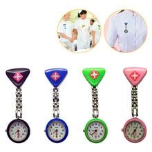 Protable Nurse Watches With Clip Red Cross Brooch Pendant Pocket Hanging Doctor Nurses Medical Quartz Watch цена