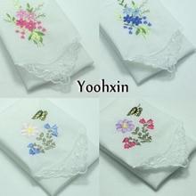6pcs/lot 30CM HOT Retro White Cotton Handkerchief Embroidered Square Towel Women Children Lace Christmas Lady Hanky Wedding Gift