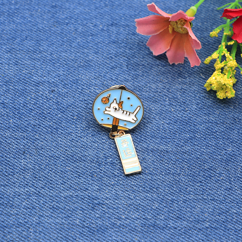 Sweet-Tempered Animals Brooches Plant Cat Wind Chimes Enamel Pin For Girls Lapel Pin Hat/bag Pins Denim Jacket Shirt Women Brooch Badge Sc4363 Apparel Sewing & Fabric