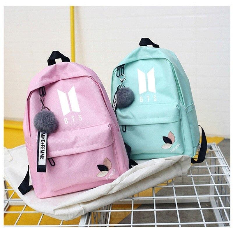 Mochila Bts Dos veces Exo Got7 mochilas Monsta X bolsa para adolescentes Wanna One k-pop K mujeres mochila escolar chica Kpop Sac A Dos