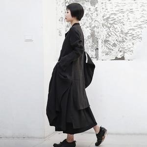 Image 5 - [Eem] 2020 yeni bahar sonbahar yuvarlak boyun uzun kollu siyah toka bölünmüş eklem gevşek uzun rüzgarlık kadın trençkot moda JR485