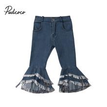 Джинсовые брюки-клеш для маленьких девочек; джинсы; широкие брюки; Повседневные детские штаны для девочек