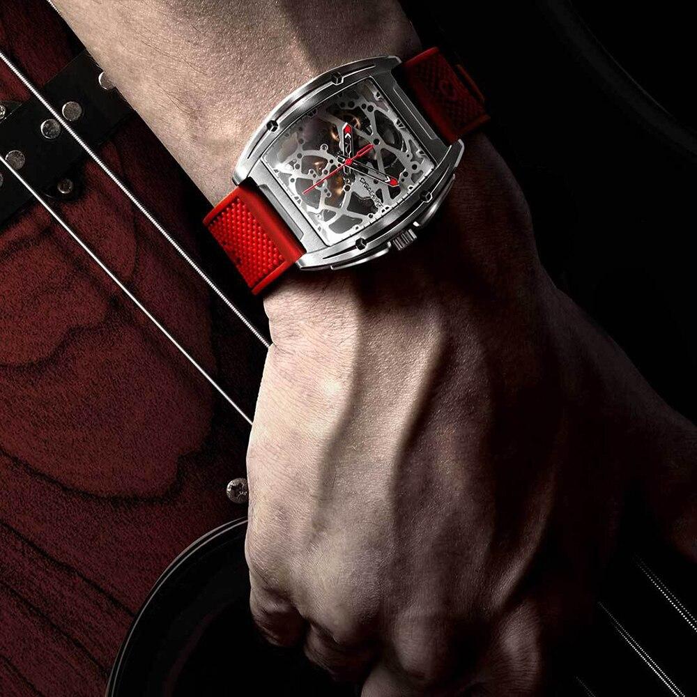 Outils d'extérieur hommes automatique mécanique montre analogique creux en acier inoxydable affaires décontracté montre-bracelet cadeau