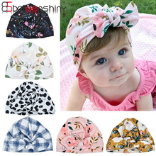 BalleenShiny Newborn Baby Hat Flower Bowknot Baby Cap Infant Girl Hospital Cap Soft Cotton Toddler Knit Newborn Baby Photo Props цена 2017