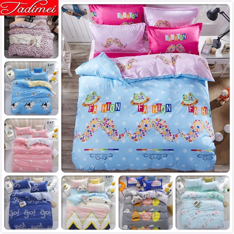 Duvet Cover 3/4 Pcs Bedding Set Adult Kids Child Soft Cotton Bed Linen Single Twin Full Queen King Size Bedspreads 150x200 SheetDuvet Cover 3/4 Pcs Bedding Set Adult Kids Child Soft Cotton Bed Linen Single Twin Full Queen King Size Bedspreads 150x200 Sheet