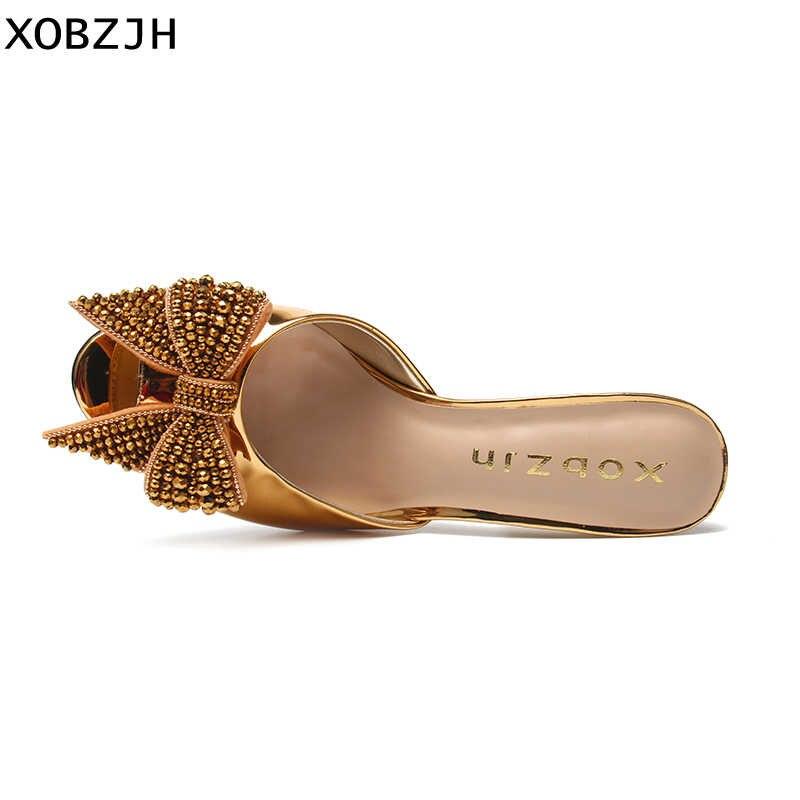 Sandalias doradas de marca de diseñador de lujo 2019 de cuero tacones altos para damas boda y fiesta G zapatos de punta abierta zapatos de tacón de cristal para mujer