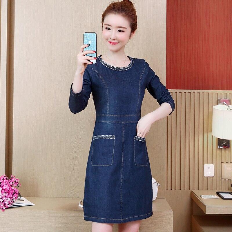 Denim Dresses Plus Size 4XL 5XL Knee Length Women Dress Elegant Formal  A-line Long de08a8764bc8