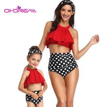 OHDREAM Family Bikini Set Halter Straps Flash Swimwear Flounce Parent-child Swimsuit High Waist Polka Dot Bathing Suit for Women women s stylish flounce halter hit color bikini swimwear