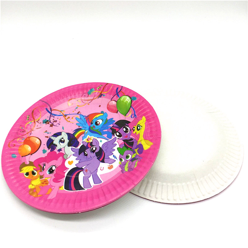 wedding : 128Pcs Lot Cartoon My Little Pony Kids Birthday Disposable Tableware Sets Decoration Childrens Day Wedding Event Supplies