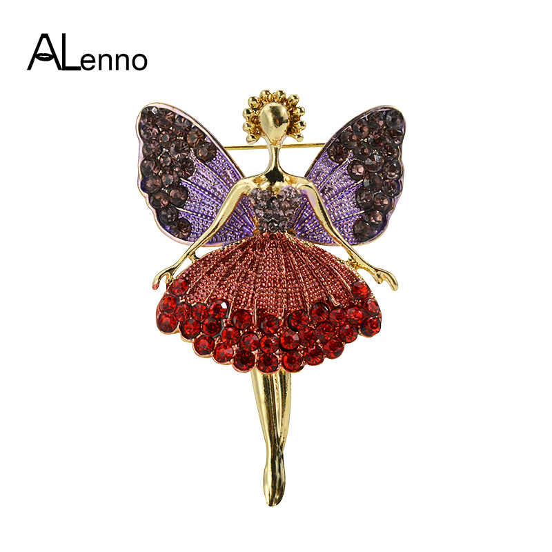Enamel Purple Wings Red Crystal Dress Ballet Dance Girl Ballerina Pins And Brooches For Women Female Suit Coat Accessories Gift