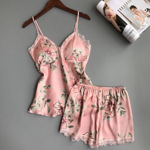 Womens Sexy-Lingerie Sleepwear Satin Silk Babydoll Lace Nightwear Pajamas Set Ladies Floral Strap Pajama Sets Female Clothing