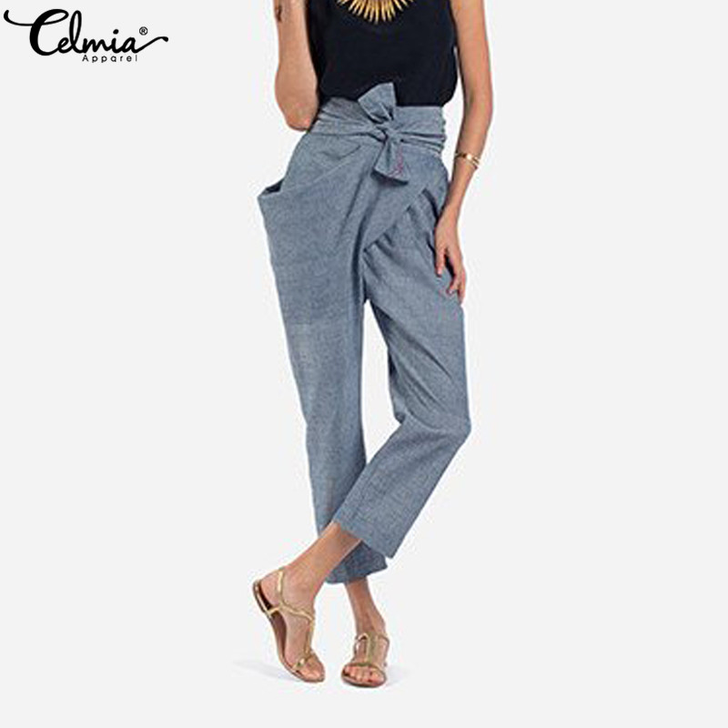 0603cc61b25 Detail Feedback Questions about Celmia Women High Waist Casual Bow Belted  Pants 2018 Elegant Office Lady Irregular Pockets Long Trouser Carrot Pant  Plus ...