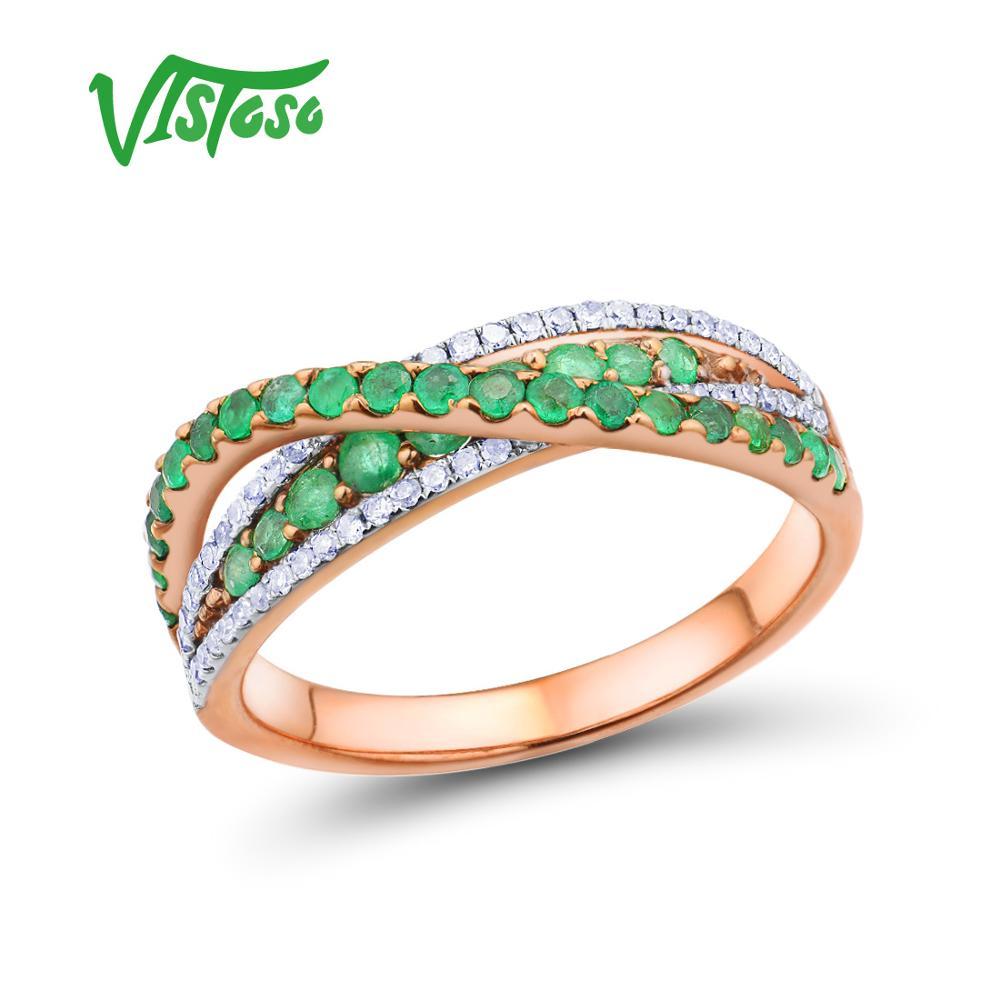 VISTOSO Gold Rings For Women Genuine 14K 585 Rose Gold Ring Magic Emerald Sparkling Diamond Glamorous Anniversary Fine Jewelry