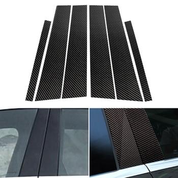 6PCS Car Real Carbon Fiber Window B-pillar Molding Cover Trim For Mercedes Benz C Class W205 2014 2015 2016 2017 2018 фото