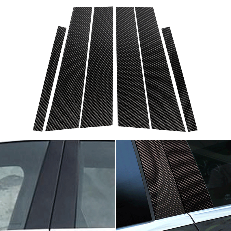 6PCS Car Real Carbon Fiber Window <font><b>B</b></font>-pillar Molding Cover Trim For <font><b>Mercedes</b></font> Benz C Class W205 2014 2015 2016 2017 2018 image