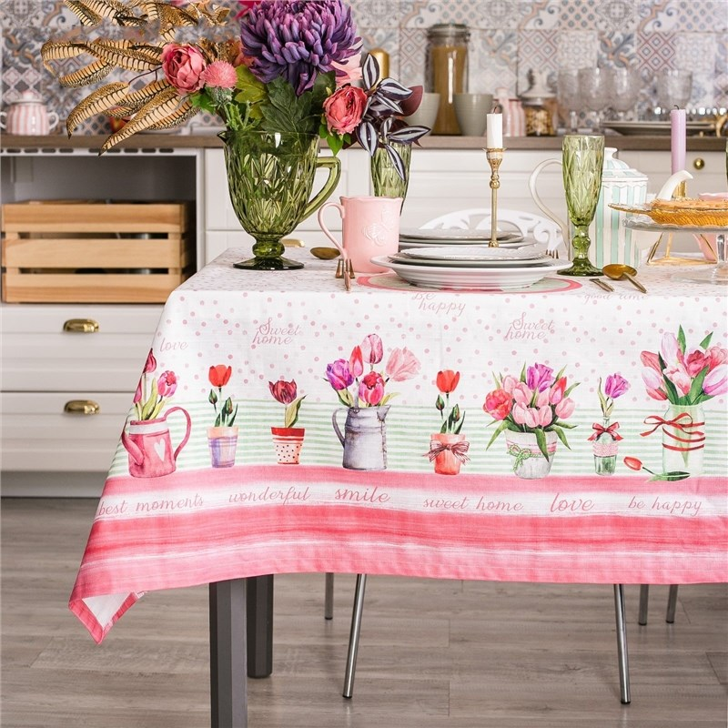 Tablecloth Ethel Tulips 110х147 cm, 100% CHL, репс 190 C/m2 4017238 free delivery ac230v 8 cm high quality axial flow fan cooling fan 8038 3 c 230 hb