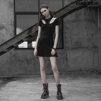 Gothic Casual Corn Tie Rope Sexy Mini Dresses fashion Black Off shoulde Cotton short Sleeve Laced Women Dress PUNK RAVE OPQ 318