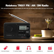 Retekess TR601 FM / AM / SW Pocket Radio Digital DSP Clock Radio Receiver MP3 Player 9K/10K Tuning Micro SD Card Port USB Input(China)