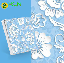 Type 86 art switch Socket 1 2 3 4 gang 1 2 way sky blue white flower ividuality creativity Decorative panel TV computer socket